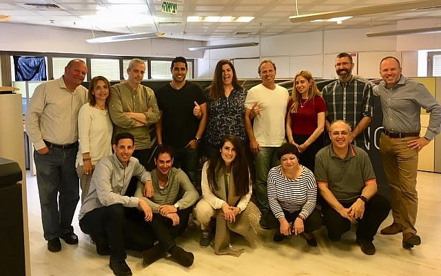 The ActivePath team at its Tel Aviv office; US fintech firm Broadridge has acquired the Israeli startup; March 27, 2018 (Courtesy)