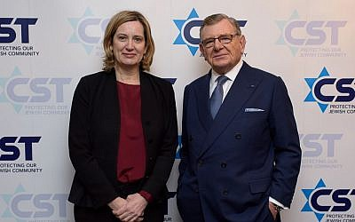 At the March 7, 2018 annual Community Security Trust (CST) dinner: Home Secretary Amber Rudd and Gerald Ronson, chair of the CST. (courtesy)