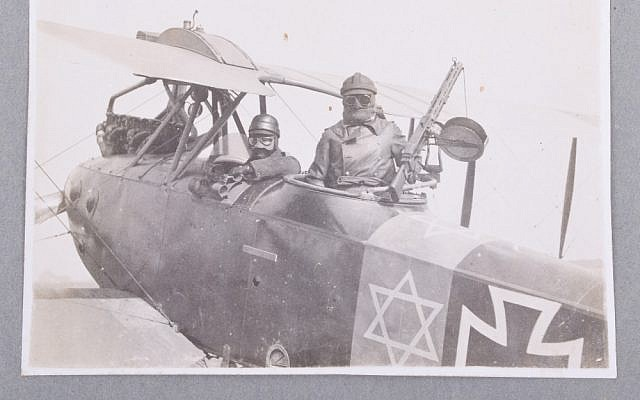 German World War I aviator Lt. Adolf Auer (l) pained a Star of David on his plane in response to anti-Semitic comments by future Nazi Hermann Goering. (Courtesy)