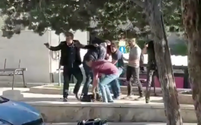 A screen shot from a reported raid by undercover Israeli commandos at Birzeit University in the West Bank on March 7, 2018. (Screen capture: YouTube)