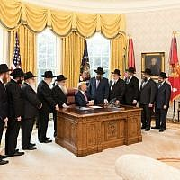 Illustrative: A delegation of rabbis from the Lubavitch-Chabad movement visit President Donald Trump in the Oval Office on March 27, 2018. (White House)