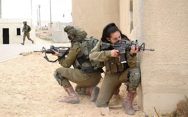 Soldiers from the mixed-gender Lions of the Jordan Valley Battalion take part in an exercise in the Tzeelim army base on February 5, 2018. (Judah Ari Gross/Times of Israel)
