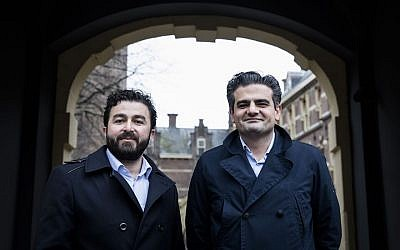 Denk party leaders Selcuk Ozturk, left, and Tunahan Kuzu, posing in The Hague, the Netherlands, on February 23, 2017. (Bart Maat/AFP/Getty Images via JTA)