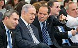 Prime Minister Benjamin Netanyahu (2L) seen with Jerusalem Mayor Nir Barkat (C) and Jerusalem Minister Zeev Elkin (L) during a special cabinet meeting in Jerusalem on June 2, 2016. (Marc Israel Sellem/POOL)