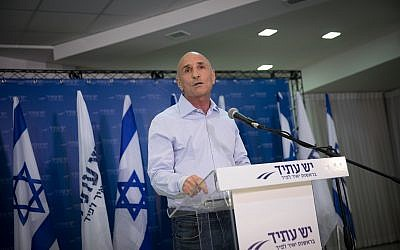 "Yesh Atid MK Ofer Shelah speaks during a press conference regarding the so called ""Recruitment Law"" in Tel Aviv on September 12, 2017. (Miriam Alster/Flash90)"