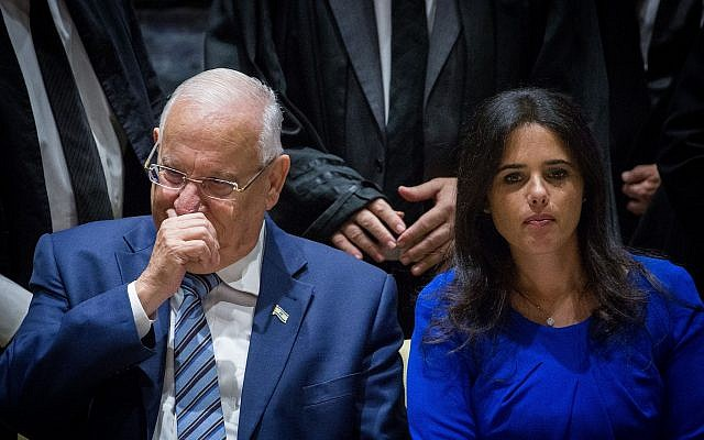 President Reuven Rivlin, left, and Justice Minister Justice Ayelet Shaked during a ceremony at the President's Residence in Jerusalem, on October 26, 2017. (Miriam Alster/Flash90)