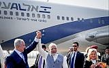 Prime Minister Benjamin Netanyahu and his wife Sara with Indian prime minister Narendra Modi as Netanyahu arrives in India on January 14, 2018. (Avi Ohayon/GPO)