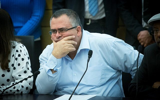 Likud MK David Bitan attends a Likud party faction meeting at the Knesset, February 12, 2018. (Miriam Alster/Flash90)