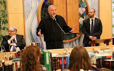 Israeli minister of Defense Avigdor Liberman speaks during a visit at Midreshet Lindenbaum for Women in Jerusalem on February 20, 2018. (Gershon Elinson/Flash90)
