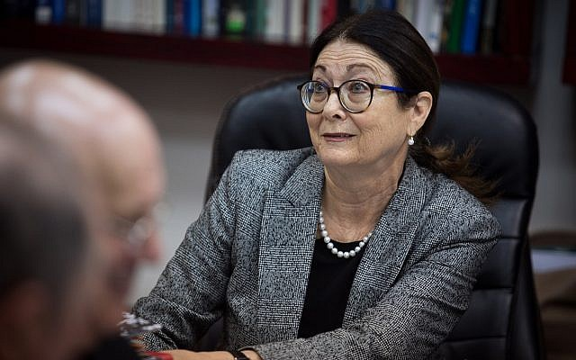 Supreme Court president Esther Hayut at a meeting of the Israeli Judicial Selection Committee at the Ministry of Justice in Jerusalem on February 22, 2018. (Hadas Parush/Flash 90)