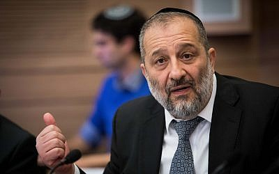 Interior Minister Aryeh Deri attends a Finance Committee meeting in the Knesset in Jerusalem on February 27, 2018. (Flash90)