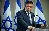 Zionist Union head Avi Gabbay speaks at a press conference with former senior security officials in Tel Aviv on February 27, 2018. (Tomer Neuberg/Flash90)