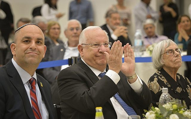 President Reuven Rivlin (C) attends a conference of the Israel Press Council in the city of Lod, on March 4, 2018. (Avi Dishi/ Flash90)