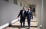 Israeli Prime Minister Benjamin Netanyahu (right) with US President Donald Trump at the White House in Washington, DC, on March 5, 2018. (Haim Zach/GPO)