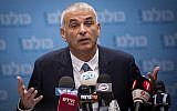 Finance Minister Moshe Kahlon leads a faction meeting of his Kulanu party at the Knesset on March 5, 2018. (Hadas Parush/Flash90)