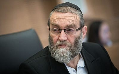 United Torah Judaism MK Moshe Gafni chairs a Knesset Finance Committee meeting on March 5, 2018. (Yonatan Sindel/Flash90)