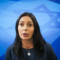 Culture and Sports Minister Miri Regev arrives for the weekly cabinet meeting at the Prime Minister's Office in Jerusalem, March 11, 2018. (Marc Israel Sellem)