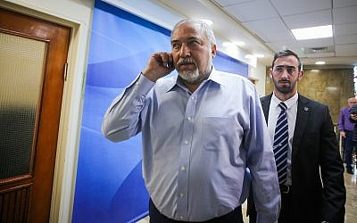Defense Minister Avigdor Liberman arrives the weekly government conference at the Prime Minister's Office in Jerusalem on March 11, 2018.(Marc Israel Sellem/Pool)