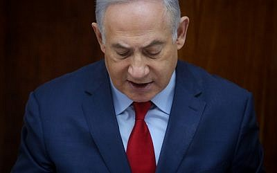 Prime Minister Benjamin Netanyahu leads the weekly cabinet meeting at the Prime Minister's Office in Jerusalem on March 11, 2018. (Marc Israel Sellem/Pool)