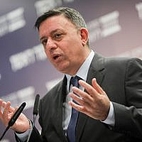 Zionist Union leader Avi Gabbay speaks at a conference held by the Israel Democracy Institute in Jerusalem on March 11, 2018.(Yonatan Sindel/Flash90)
