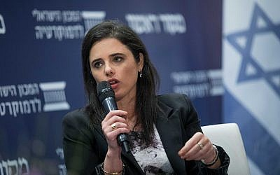 Justice Minister Ayelet Shaked speaks at a conference hosted by the Makor Rishon newspaper and the Israel Democracy Institute in Jerusalem, March 11, 2018. (Yonatan Sindel/Flash90)