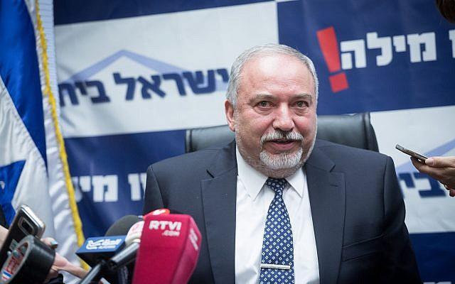 Defense Minister Avigdor Liberman leads a faction meeting of his Yisrael Beytenu party in the Knesset, March 12, 2018. (Miriam Alster/Flash90)