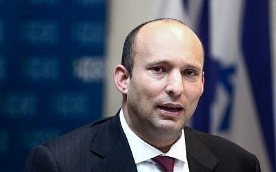 Education Minister Naftali Bennett leads a faction meeting of his Jewish Home party at the Knesset on March 12, 2018. (Miriam Alster/Flash90)