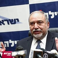 Defense Minister Avigdor Liberman leads a faction meeting of his Yisrael Beytenu party at the Knesset on March 12, 2018. (Miriam Alster/Flash90)