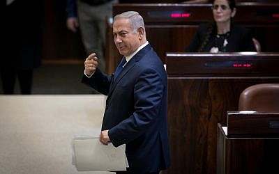 Prime minister Benjamin Netanyahu seen during a plenum session in the Israeli parliament on March 12, 2018. (Miriam Alster/FLASH90)