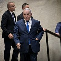 Prime Minister Benjamin Netanyahu at a Knesset plenum session on March 12, 2018.(Miriam Alster/Flash90)