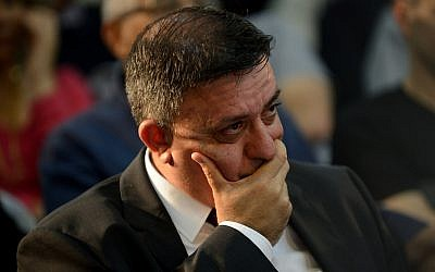 Avi Gabbay at a meeting with supporters in Kadima on March 13, 2018. (Gili Yaari /FLASH90)