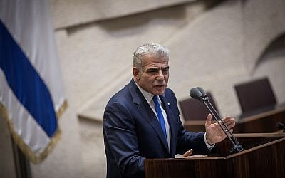 Yesh Atid chairman Yair Lapid addresses the Knesset plenum on March 13, 2018. (Hadas Parush/Flash90)