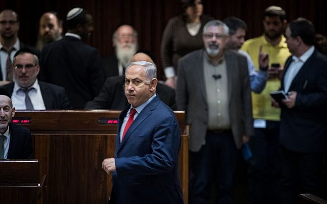 Prime Minister Benjamin Netanyahu seen in the Knesset in Jerusalem, March 13, 2018. (Hadas Parush/Flash90)