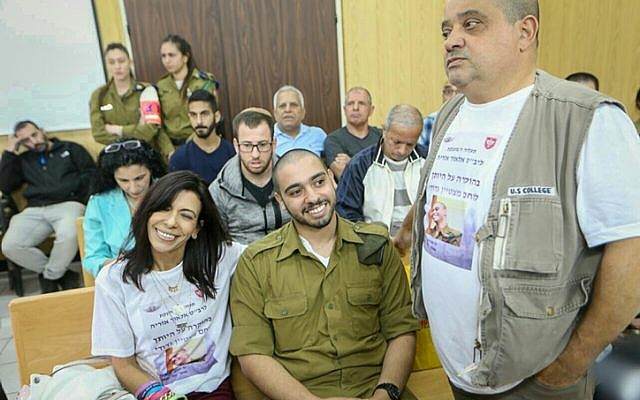 Former IDF soldier Elor Azaria, who was convicted of manslaughter for shooting dead an incapacitated Palestinian assailant in the West Bank city of Hebron, appears before a parole board in the army's Tel Aviv headquarters on March 14, 2018. (Flash90)