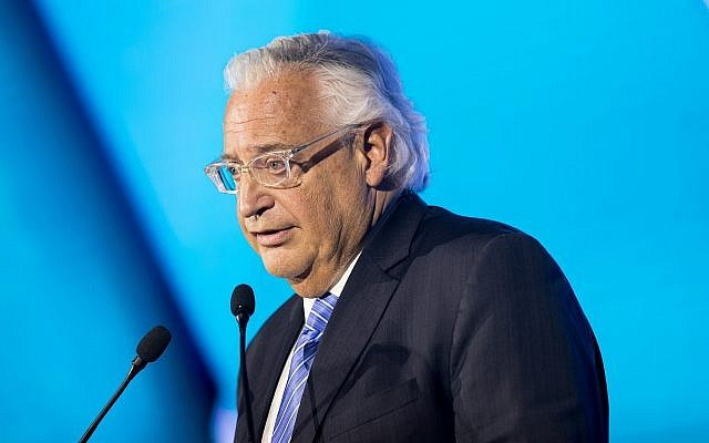 US Ambassador to Israel David Friedman speaks during the 6th Global Forum for Combating Antisemitism conference, at the Jerusalem Convention Center, on March 19, 2017. (Yonatan Sindel/Flash90)