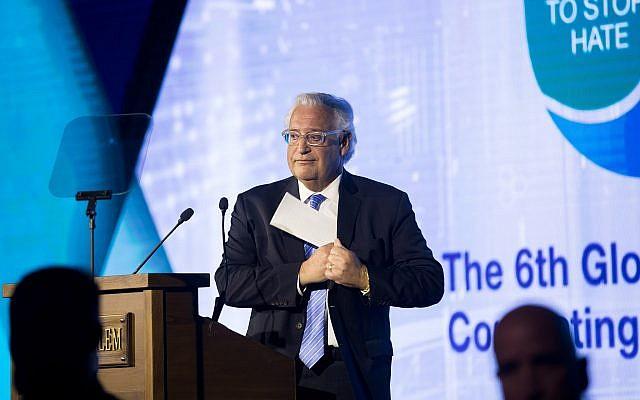 US ambassador to Israel David Friedman speaks during the 6th Global Forum for Combating Antisemitism conference at the Jerusalem Convention Center, on March 19, 2017. (Yonatan Sindel/Flash90)