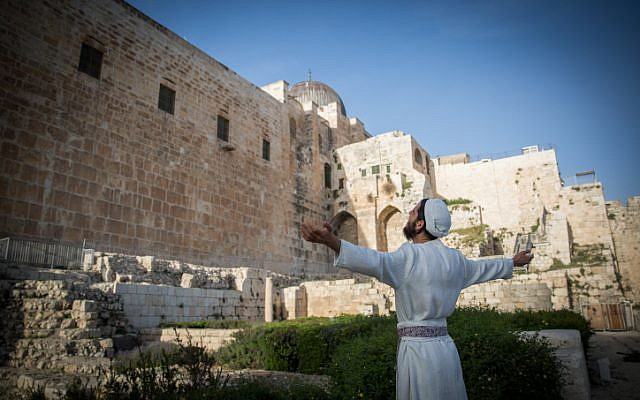 Jewish priests prepare for a Passover Sacrifice 'practice' ceremony at Davidson Center in Jerusalem Old City, on March 26, 2018. (Yonatan Sindel/Flash90)