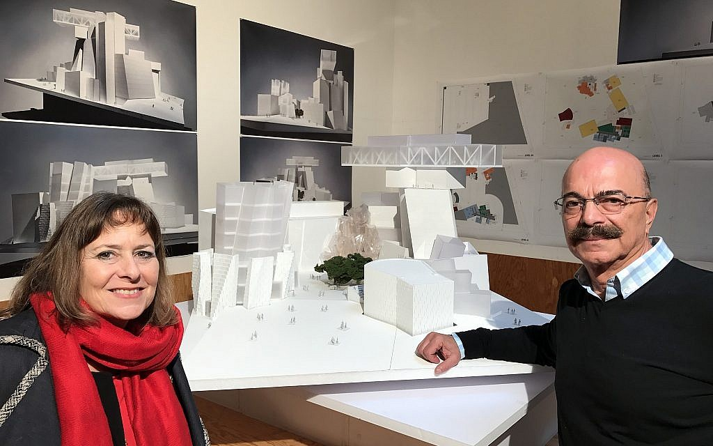 Gail Asper and Asper Foundation executive director Moe Levy with a model of the World's Jewish Museum. (Courtesy)