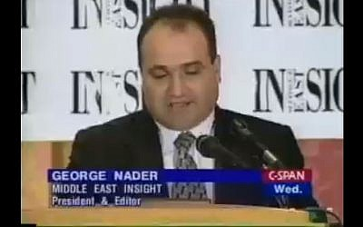 George Nader speaking on June 17, 1998. (Screen capture: C-Span)