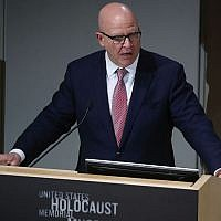 US National Security Adviser, H.R. McMaster, speaks about the situation in Syria during a discussion at the U.S. Holocaust Memorial Museum, on March 15, 2018 in Washington, DC. (Photo by Mark Wilson/Getty Images, via JTA)