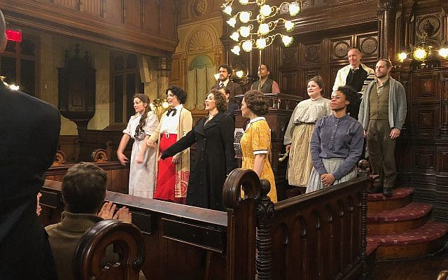Actors perform the opera 'Morning Star' at the Eldridge Street Synagogue on Tuesday, March 20, 2018. (Danielle Ziri/Times of Israel)