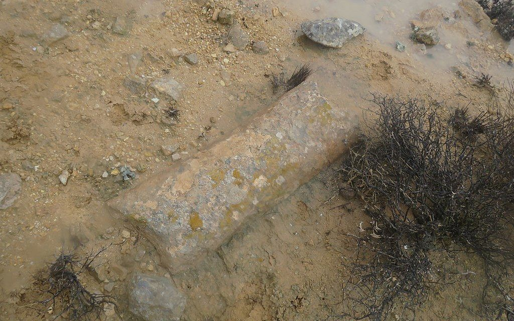 Example of a Roman milestone found along the newly discovered section of the Incense Route, February 2018. (courtesy)