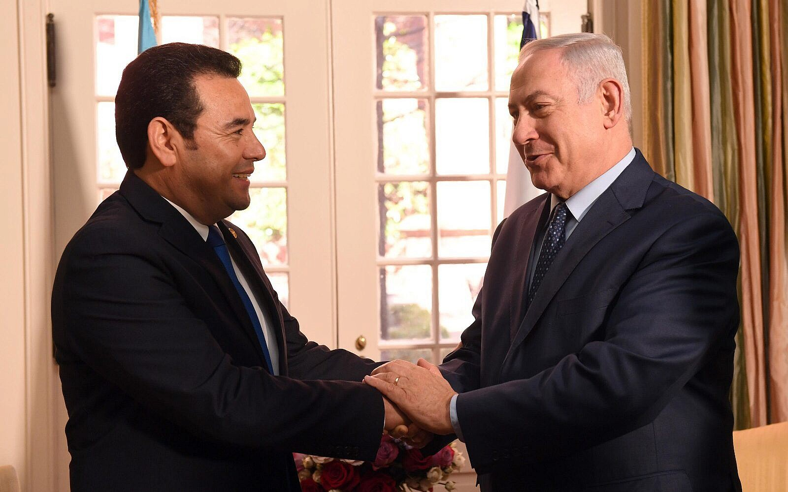Prime Minister Benjamin Netanyahu meets with Guatemalan President Jimmy Morales in Washington DC