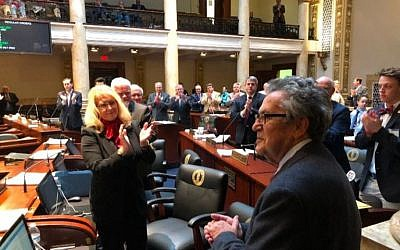 Holocaust survivor Fred Gross receives a standing ovation from the Kentucky Senate moments after the lawmakers voted unanimously to pass a Holocaust education bill that bears his name, March 21, 2018. (Lee Chottiner via JTA)