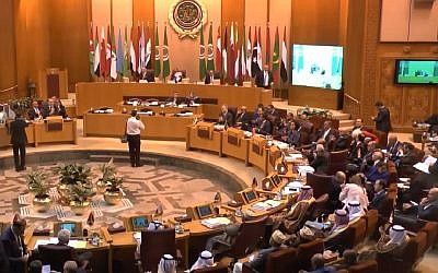 Arab League foreign ministers meet in Cairo on March 7, 2018. (Screen capture: YouTube)
