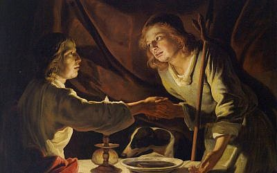 Pictured: 'Jakob and Esau' by Dutch painter Matthias Stom. In 'From Forbidden Fruit to Milk and Honey,' editor Diana Lipton offers commentary about the Bible and food, such as the lentil soup traded by one twin for his brother's birthright (Public domain, via Wikimedia Commons)