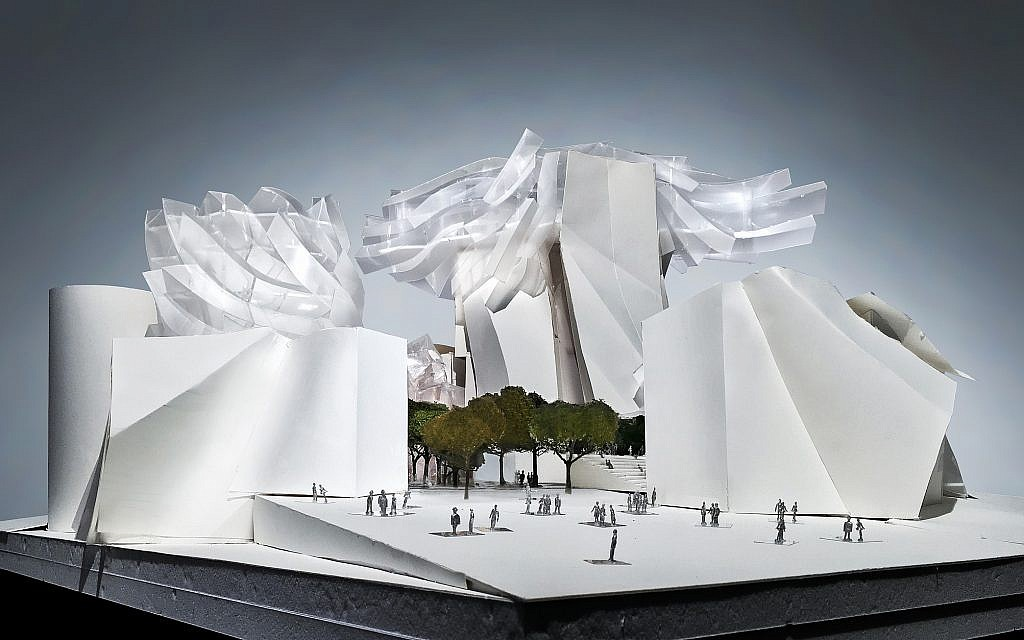 A model of architect Frank Gehry's design for the World's Jewish Museum. (Courtesy)