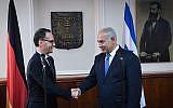 Prime Minister Benjamin Netanyahu meets with German Foreign Minister Heiko Maas, on March 26, 2018. (GPO / Kobi Gideon)