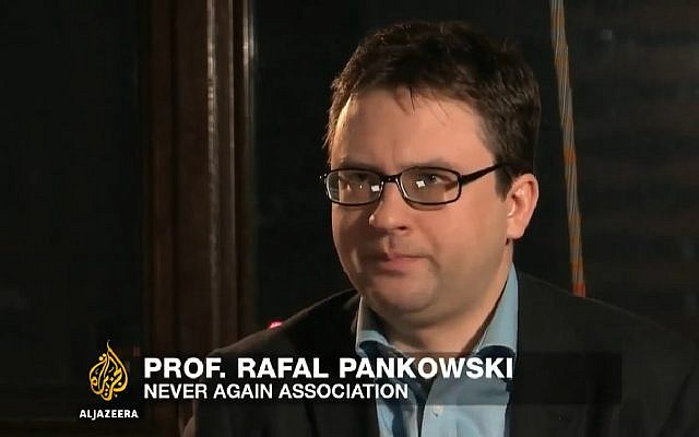 Rafał Pankowski head of the Never Again association speaks about antisemitism and an escalation of hate crimes in Poland, on March 6, 2016. (Screen capture: YouTube)