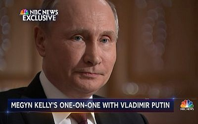 Russian President Vladimir Putin speaks with NBC's Megyn Kelly in Moscow on March 1, 2018. (Screen capture: NBC)